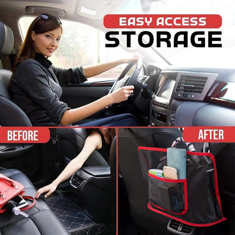 Car Seat Storage Net Bag Net Mesh Organizer Storage Pouch Pocket for Handbag Bag Documents Phone Valuable Items wastreake Car Net Pocket Handbag Holder