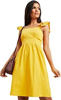 Solid Frill Sleeves A-Line Mini Women's Dress with Zipper Closure