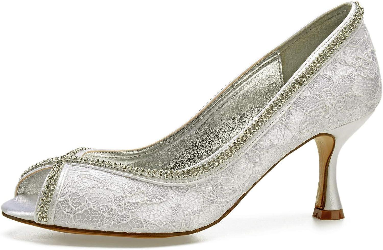 AIMIschuhe Strass Diamant Kette Lace Lady Abendkleid Schuhe Peep Open Toe Braut Hochzeit Prom Party dicken unteren Abstzen