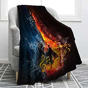 Jekeno Guitar Fire Water Blanket Print Comfort Soft Warm Throw Blanket for Kids Adults Gift 50