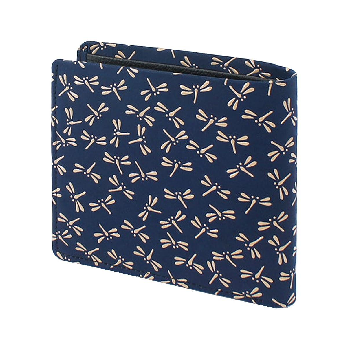 ハーネス傾向がある汚いINDEN-YA 印傳屋 印伝 財布 二つ折り財布 メンズ 男性用 紺×白 とんぼ 2006-14-008