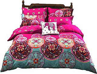 LAMEJOR Duvet Cover Sets Queen Size Bohemia Exotic Patterns Bedding Set Comforter Cover Teal/Bright Pink(1 Duvet Cover+2 Pillowcases)