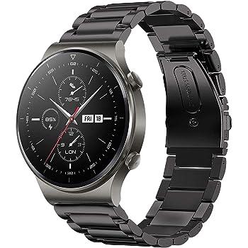 VICARA 表帶 Compatible with Huawei Watch GT/GT2 Pro/GT2e 46mm/GT 2 46mm/active 表帶 不銹鋼制 22mm 替換用 皮帶 附帶調節工具 商務風格 鋼(黑色)