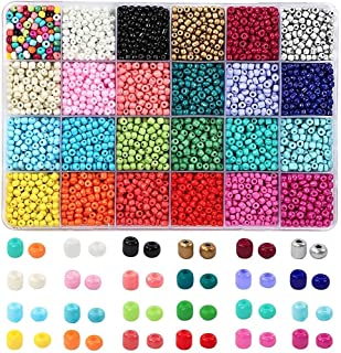 7200pcs 4mm Glass Seed Beads and 300pcs Alphabet Letter Beads for Tweezers and Accessories DIY Material, Jewelry Making an...