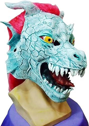 moda Nihiug Nihiug Nihiug rojo Cabello Dragón Rey Ghost Goblins Látex Dragón Rey Grimace Cap Halloween Gritando Scary Ugly Máscara Traje De Halloween Para Adultos,A  Web oficial