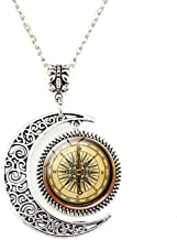 Crimyy Steampunk Compass Moon Pendant, Steampunk Compass Necklace,Vintage Compass Moon Jewelry, Moon Necklace Glass Art Pi...