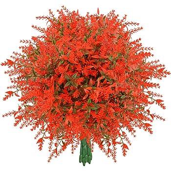 Artificial Lavender Flowers, 8 Bundles Orange Red Fake Flowers UV Resistant No Fade Faux Plastic Bouquet Plants Fall Decor for Home Wedding Garden Porch Window Box Decor Autumn Decor