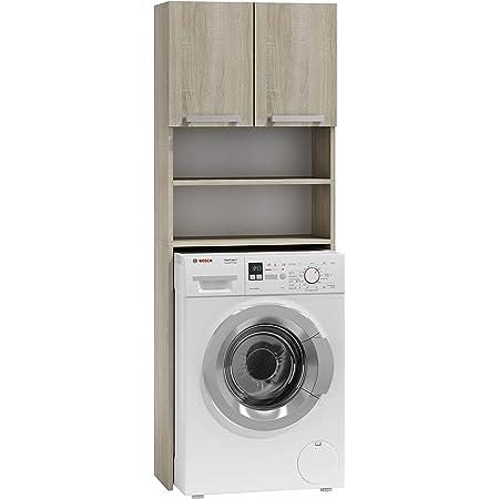 ADGO Pola Armoire pour machine à laver, armoire pour salle de bain, étagère de toilettes, sur-machine à laver, armoire de salle de bain, armoire haute de salle de bain Sonoma