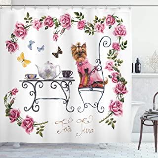 Ambesonne Yorkie Shower Curtain, Yorkshire Terrier in Pink Dress Having a Tea Party Tea Time Butterflies Roses, Cloth Fabric Bathroom Decor Set with Hooks, 70