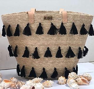 Kiki Boho   Black Tote, bolso de mano tejido con pompones negros
