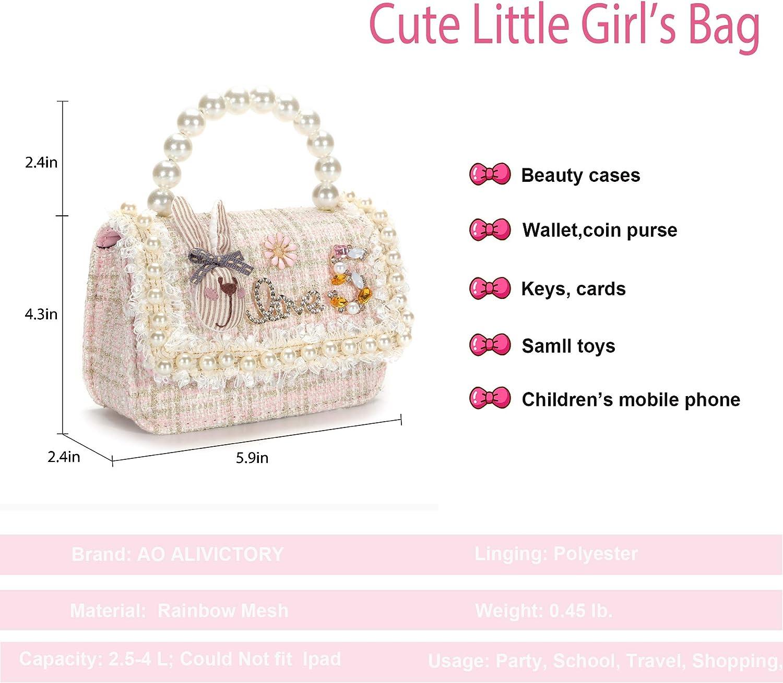 AO ALI VICTORY Toddler Gifts Kids Purse for Little Girls Mini Girls Handbag Shoulder Crossbody Bag Dress Up Jewelry Pretend Play Tote Pink