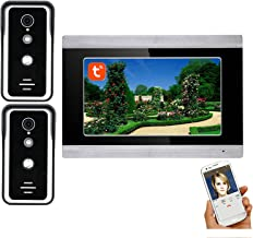 7 Inch Video Deurtelefoon Systeem, Wifi Video Deurbel, 2 Buiten Nachtzicht Camera + Monitor, Tuya APP Unlock, Intercom