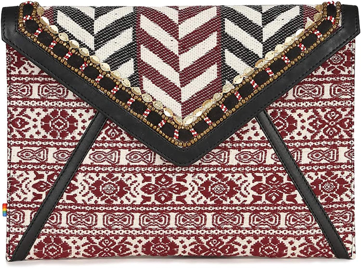 Envelope clutches for women black white tapestry embroidered structured day to evening sleek clutch for ladies
