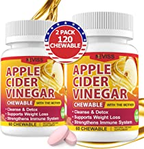 (2 Pack)Organic Apple Cider Vinegar Pills with The Mother for Weight Loss, Detox & Cleanse, ACV Pills for Women, Vegan App...