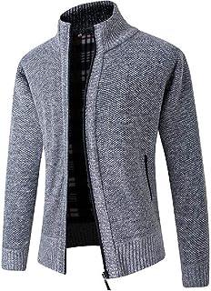 CRYYU Mens Thicken Pockets Full Zip Slim Open Front Cardigan Sweater