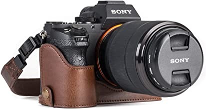 MegaGear Sony Alpha A7S II, A7R II, A7 II Ever Ready Leather Camera Half Case and Strap, with Battery Access - Dark Brown - MG1124