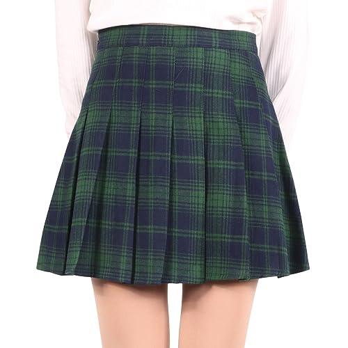 73cfff8499 chouyatou Women's High Waist Plaid Flannel Flared Skater Skirt with Zipper  Closure