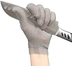 Anself Stainless Steel Mesh Gloves, Cut Resistant Gloves for Kitchen Butcher Working Safety (Small)