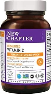 New Chapter Vitamin C + Elderberry for Immune, Fermented Vitamin C, Whole-Food Herbs + Collagen Protection, ONE Daily, 100...