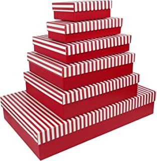 Emartbuy Conjunto de 6 Rígido Lujo Rectángulo Presentación de Caja de Regalo, Caja Roja Con Tapa de Rayas Rojas/Blancas y Rosa Interior