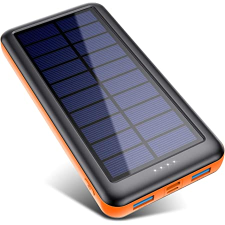 Pxwaxpy Solar Power Bank 26800mAh, Solar Charger 【Type C & Micro USB Input】 High Capacity Portable Charger Fast Charge External Battery Pack with 2 Outputs Compatible for Smartphones, Tablets and More