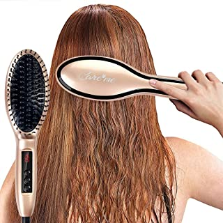 Electric Heated Hair Straightening Brush Straightener- Heats Up Fast and Straightens Hair with Ions for Healthy, Frizz-Free, Smooth, Straight Hair