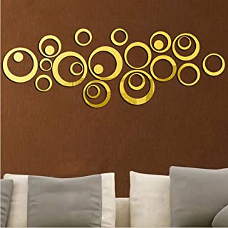 Wall1ders - Ring and Dots Golden (Pack of 24) 3D Acrylic Stickers, 3D Acrylic Mirror Wall Stickers for Living Room, Hall, ...