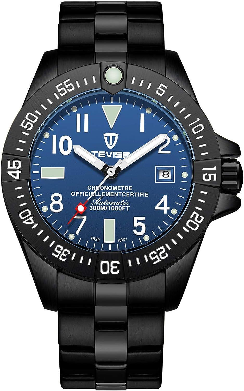 ZHANGZZ Hermoso Reloj TEVISE, TEVISE Reloj mecánico Moda Reloj de Acero automático cinturón de los Hombres.