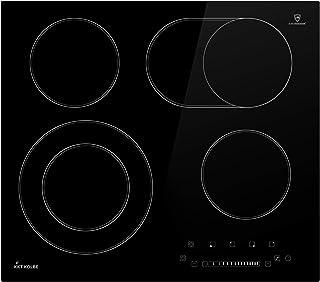 KKT KOLBE Plaques de cuisson electrique 59cm / autonome / 6,6kW / 15 marches / 4 zones/sans cadre/double zone/touch slider...