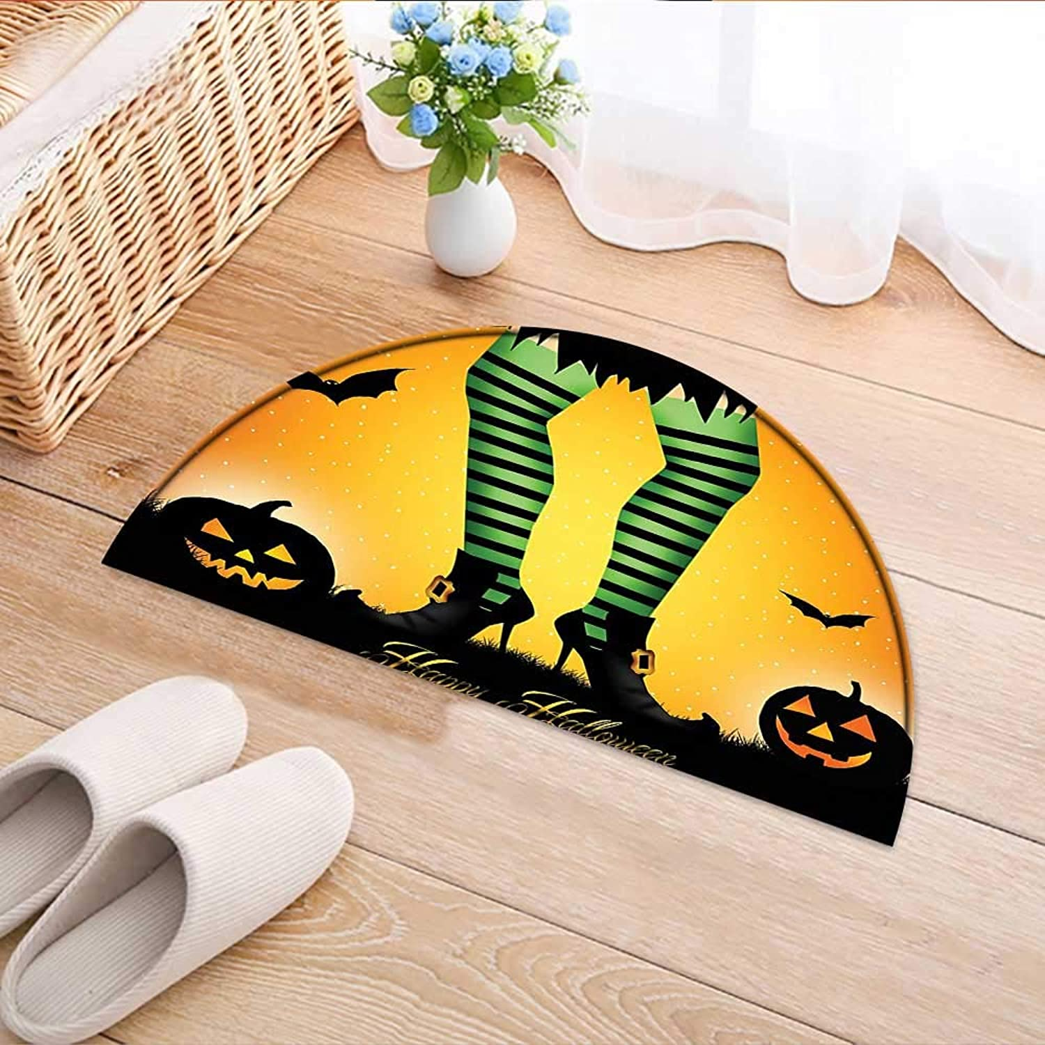 Semicircle Area Rug Carpet Cartoon Witch Legs with Striped Leggings Western Culture Concept Bats and Pumpkins Multi Door mat Indoors Bathroom Mats Non Slip W37 x H26 INCH
