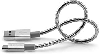 Verbatim Micro USB Sync and Charge Cable - Robust and Flexible Stainless Steel Micro-USB Cable, with Kink Protection, 30 c...