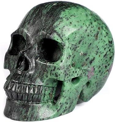Halloween Decor Human Skull Statue Natural Healing Snakeskin Jasper Figurine