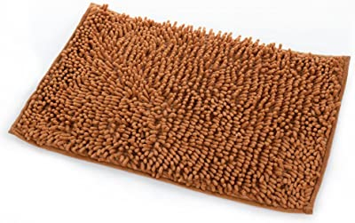 PinShang Bath-Rugs, Bathroom Carpet Microfibre Non Slip Soft Carpet Water Absorbing Bathroom Shower Kitchen Rug Mat Decoration 40X60CM Brown