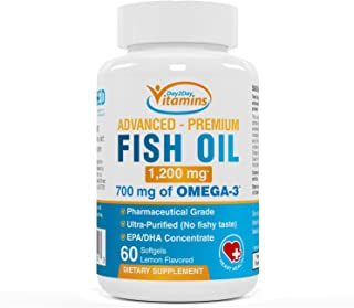 Fish Oil Supplement: 1200 mg, 700mg of OMEGA 3 - Premium Pharmaceutical Grade, Ultra Purified, Fatty Acids, EPA supplement...