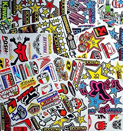 super pack 12 Verschiedene gemischte Stickerbögen sind alle vorgeschnitten selbstklebend Stickers Rockstar Energy Drink BMX Moto-Cross Decals Abziehbilder MX