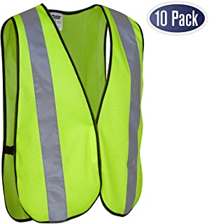 Safety Vest with High Visibility - 2 Inch Reflective Strips, Bright Neon Yellow, Breathable Polyester Mesh Fabric, ANSI ISEA Class Unrated, Hi Viz All Day and Night (10 Pack - Small-Large)