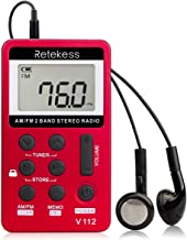 Retekess V112 Pocket AM FM Radio Digital Tuning Mini Small with Earphone Rechargeable Battery for Walk Kids Senior(Red)
