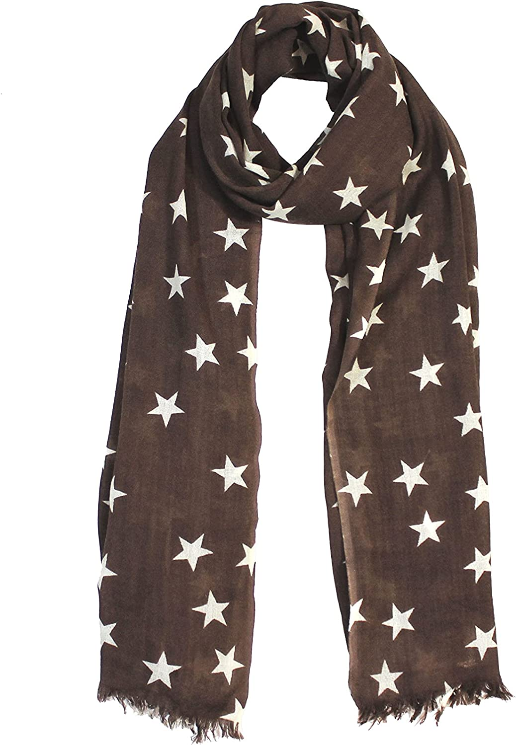 MINI APPARELS Brown Color White Star Print Woolen Lightweight Scarf for Women