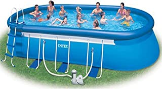 Intex 24' x 12' x 48'' Oval Ellipse Frame Pool Structure with Frame Only - Ground Straps Included. No Other Parts; Accessories and Components Included