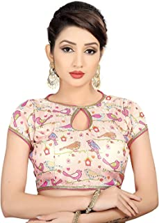Ocean Fashion Women's Silk Printed Round Neck Fully Stitched Saree Blouse For Women