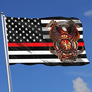 QphonesFlag Thin Red Line 343 Firefighters Memorials 9-11 Never Forget Flag 3x5-Flags 90x150CM-Banner 3'x5' FT