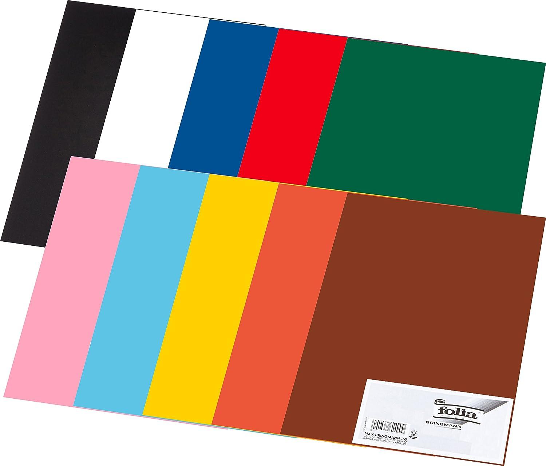 Folia Tonpapier 130g m², Din A3, 10 Farben, Mehrfarbig (10 Packungen Din A3, Bunt) B07FMD7CG4    Sale Deutschland