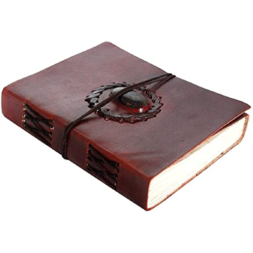 Leather Bound Journal - Vintage Stone Journal with Lock - Book of Shadow By Rustic Town