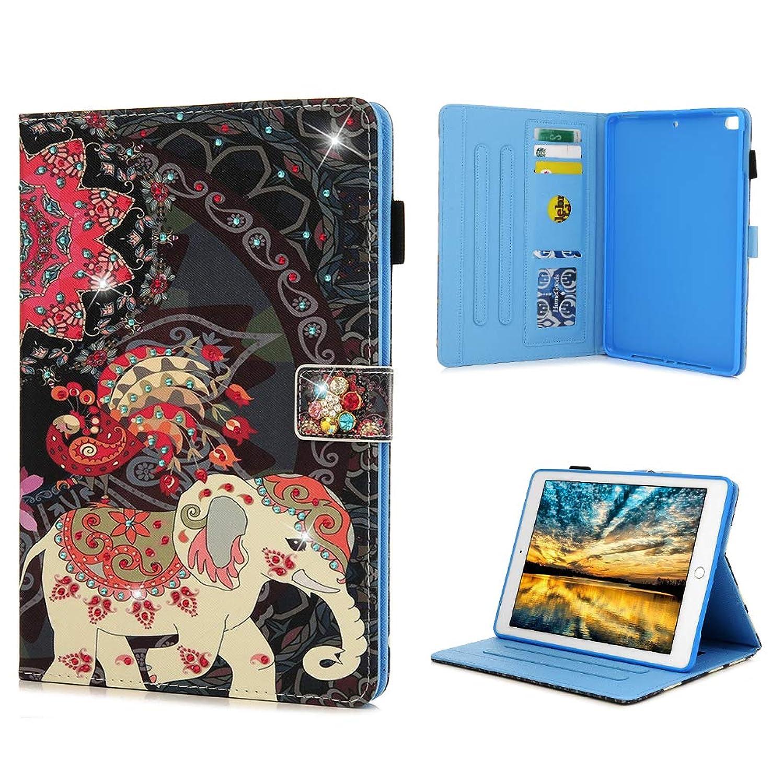 iPad Air 2 Case, iPad Air Tablet Flip Folio Case Kickstand Card Slots Bling Shiny Glitter Sparkle Diamonds Rhinestones Shockproof TPU Bumper Ultral Slim Paint PU Leather Cover for Apple iPad 9.7