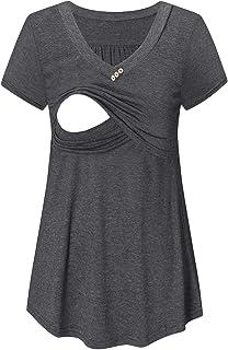 BBHoping Maternity Nursing Tee Breastfeeding Shirts Short Sleeve Tops for Women