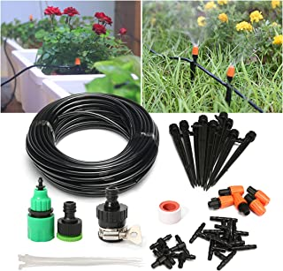 """PATHONOR Drip Irrigation Kits, Plant Watering Kit with 50ft 1/4"""" Blank Distribution Tubing Hose, 5pcs Misters,10pcs Suppor..."""