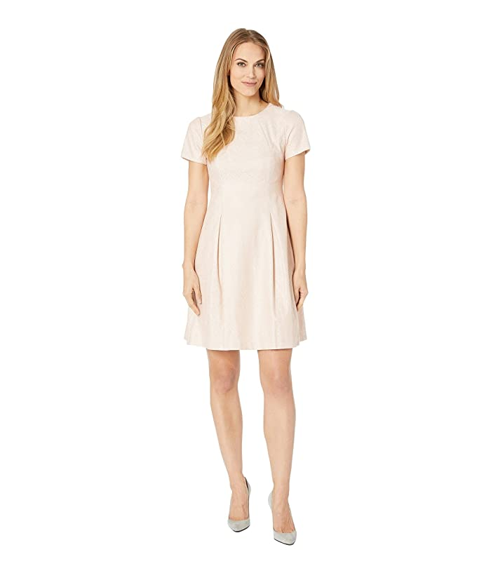 Vince Camuto Bonded Lace Short Sleeve Fit and Flare Dress with Pleats (Barely Pink) Women