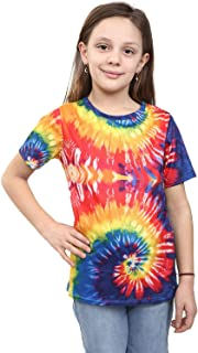 Hi Fashionz Children Tie Dye T-Shirt Kids Girls Rainbow Tye Die Shirt Music Festival Classic Tee Beach Top