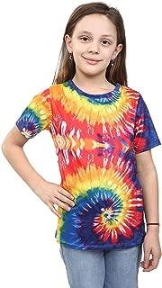 Hi Fashionz Children Tie Dye T-Shirt Kids Girls Rainbow Tye Die Shirt Music Festival Classic Tee Beach Top