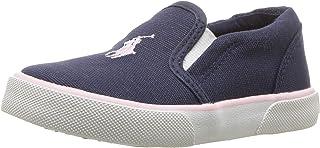 POLO RALPH LAUREN Kids Girls' Bal Harbour II Sneaker, Navy Canvas Light Pink pop, M020 M US Little Kid